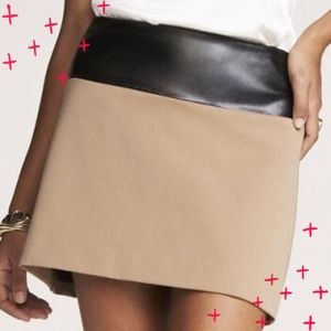 Express khaki with faux leather trim skirt size 6